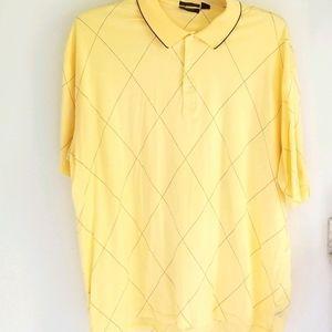 Tasso Elba yellow argyle cotton polo size XL